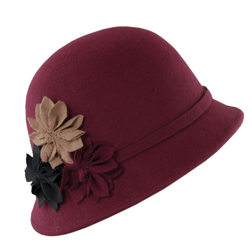 Dorfman-Pacific Co. Women's Cloche With Rosettes Hat BURGUNDY