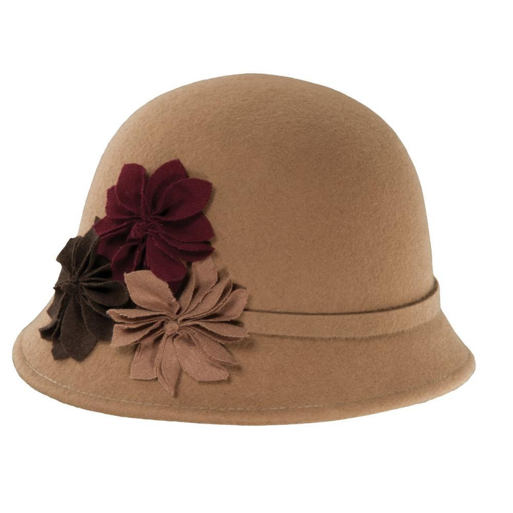Dorfman-Pacific Co. Women's Cloche With Rosettes Hat CAMEL