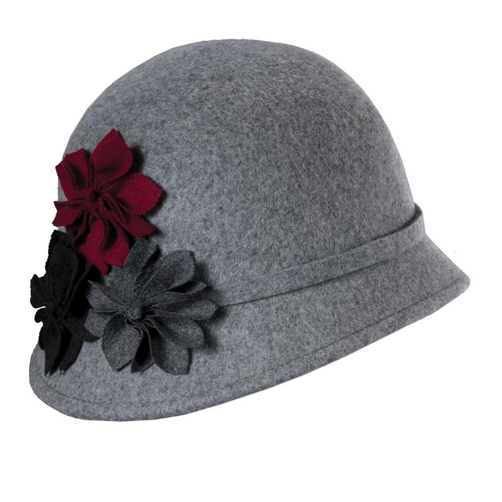 Dorfman-Pacific Co. Women's Cloche With Rosettes Hat CHARCOAL