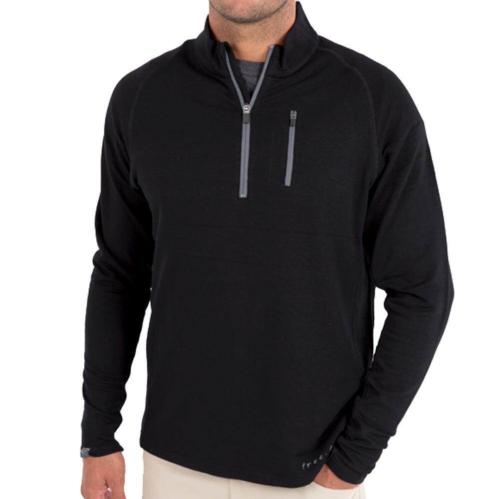 Free Fly Men's Bamboo Fleece Quarter Zip Pullover BLACK