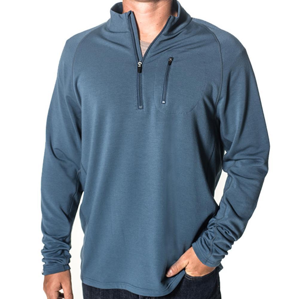 Free Fly Men's Bamboo Fleece Quarter Zip Pullover STORMBLUE