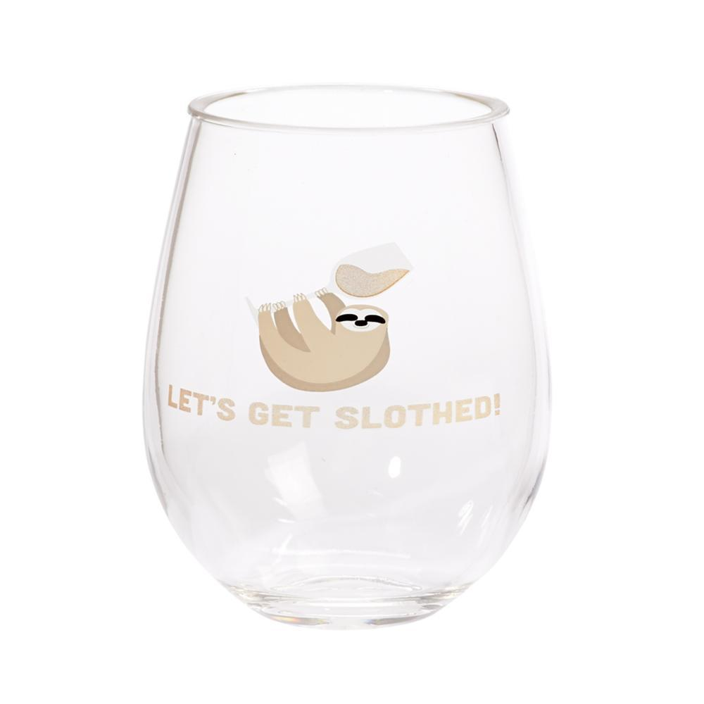 C.R.Gibson Sloth Double Stemless Wine Glass Set