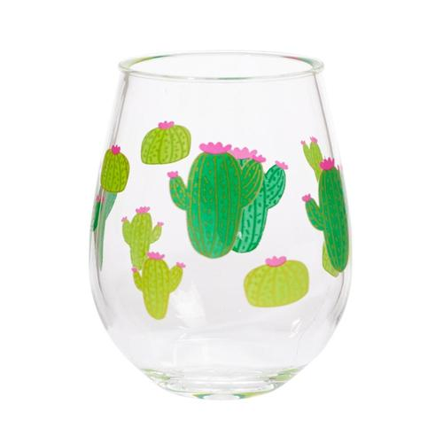 C. R. Gibson Cactus Double Stemless Wine Glass Set