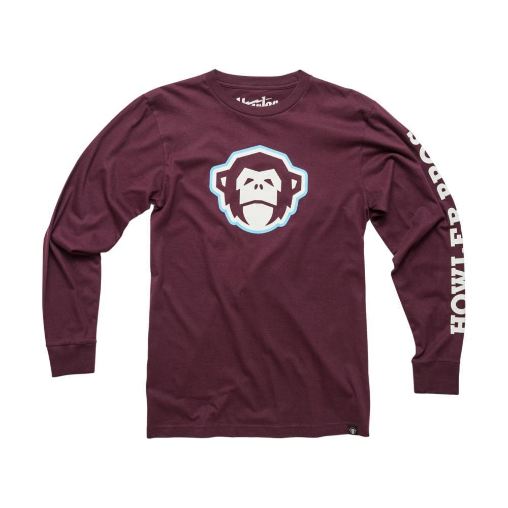 Howler Brothers Men's El Mono Long Sleeve T-Shirt BURGUNDY