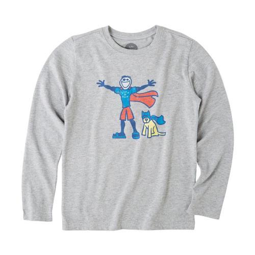 Life is Good Boys Superhero Jake Rocket Long Sleeve Crusher Tee Hthrgray
