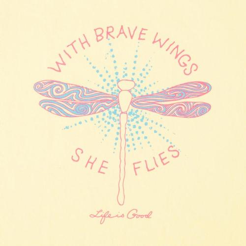 Life is Good Girls With Brave Wings Crusher Tee Yellow