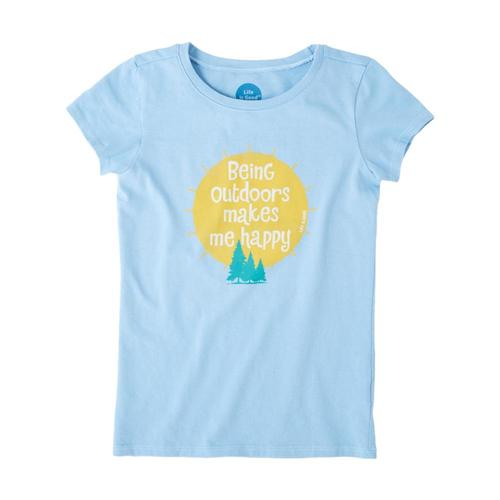Life is Good Girls Outdoors Makes Me Happy Crusher Tee Pwdrblue