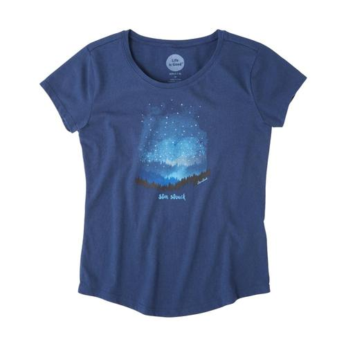 Life is Good Girls Star Struck Mountains Smiling Smooth Tee Drkblue
