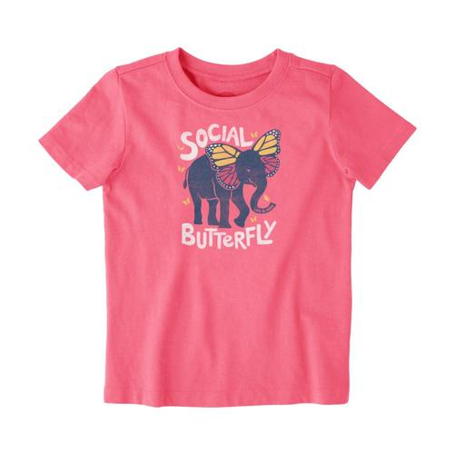 Life is Good Toddlers Social Butterfly Crusher Tee Fiestapnk