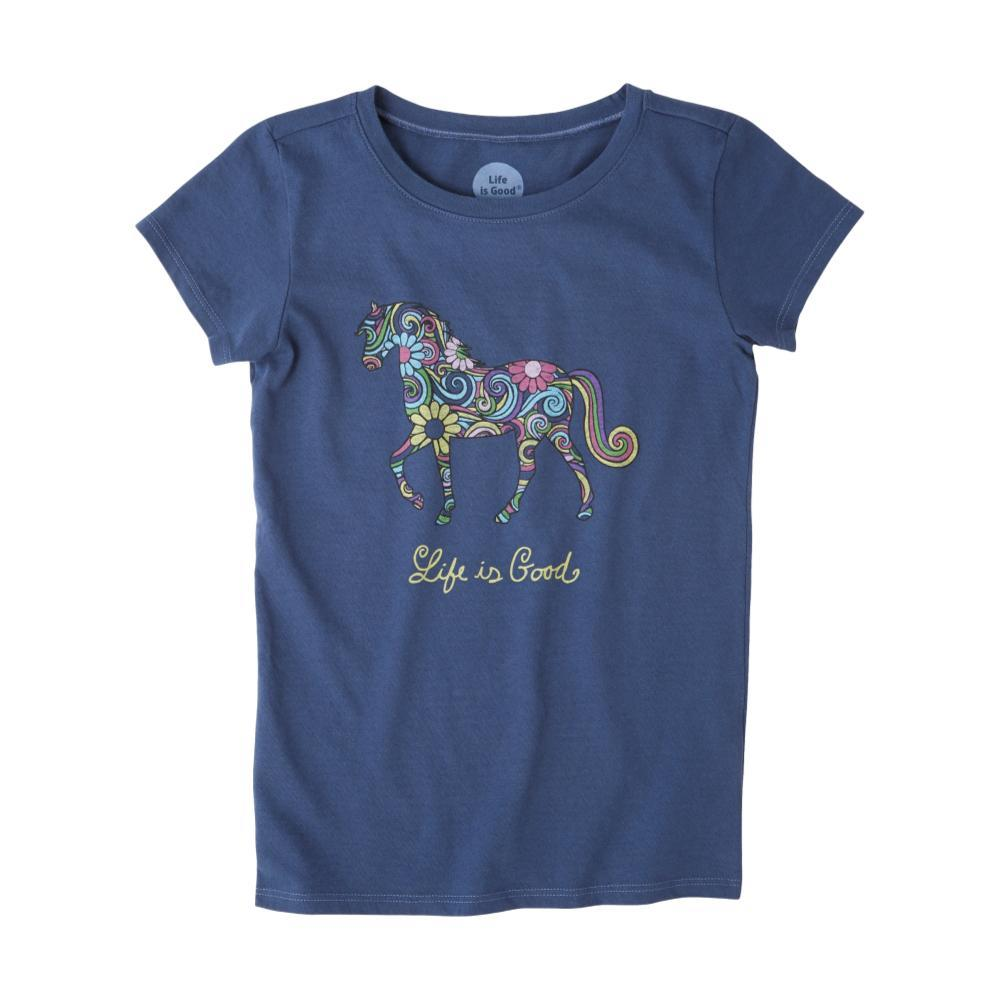 Life is Good Girls Swirly Horse Crusher Tee DRKBLUE