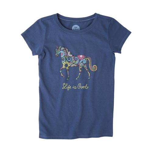 Life is Good Girls Swirly Horse Crusher Tee Drkblue