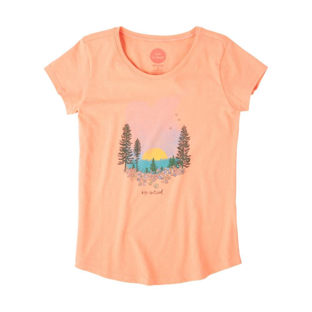 Life is Good Girls Landscape Watercolor Smiling Smooth Tee FRSHCORAL