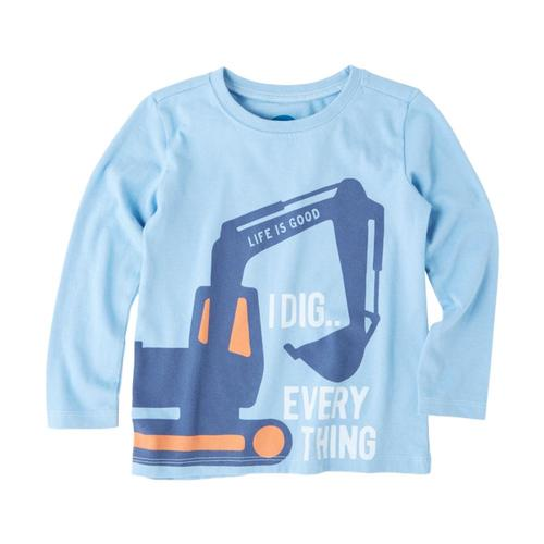 Life is Good Toddlers I Dig Everything Long Sleeve Crusher Tee Pwdrblue