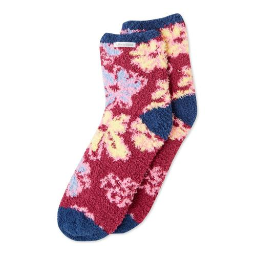 Life is Good Women's Artistic Flowers Snuggle Crew Socks Wildcherry