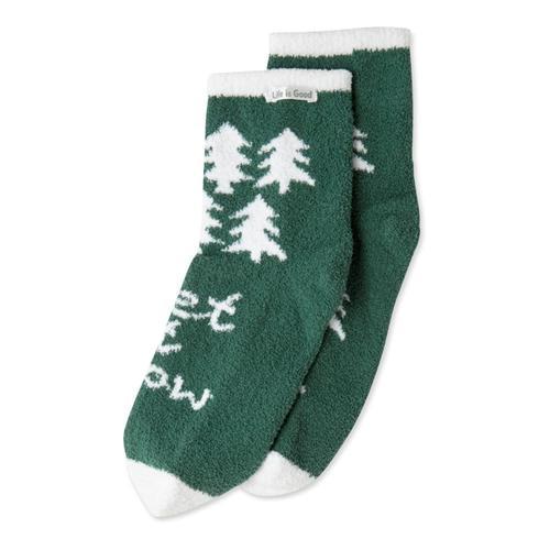 Life is Good Women's Pine Tree Pattern Plush Snuggle Crew Socks Forestgreen