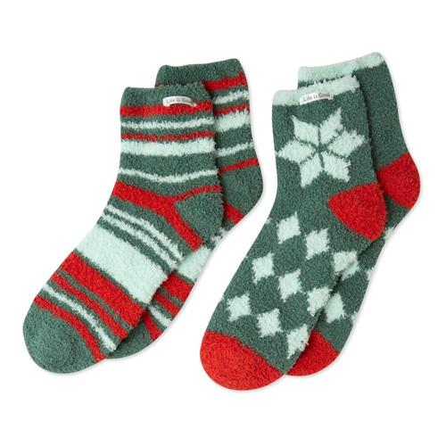 Life is Good Women's Holiday Patterns Snuggle Socks - 2-Pack Forestgreen