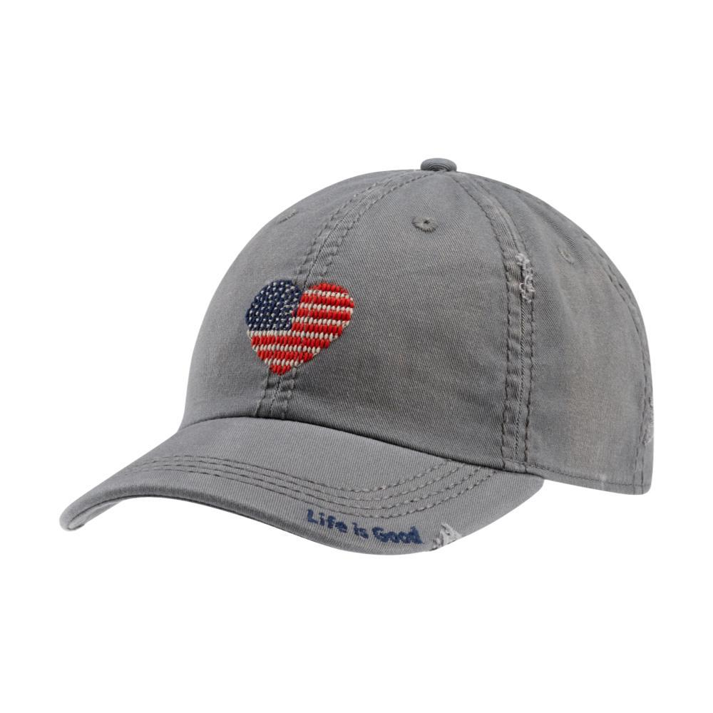 Life is Good Heart Flag Sunwashed Chill Cap SLATEGRAY
