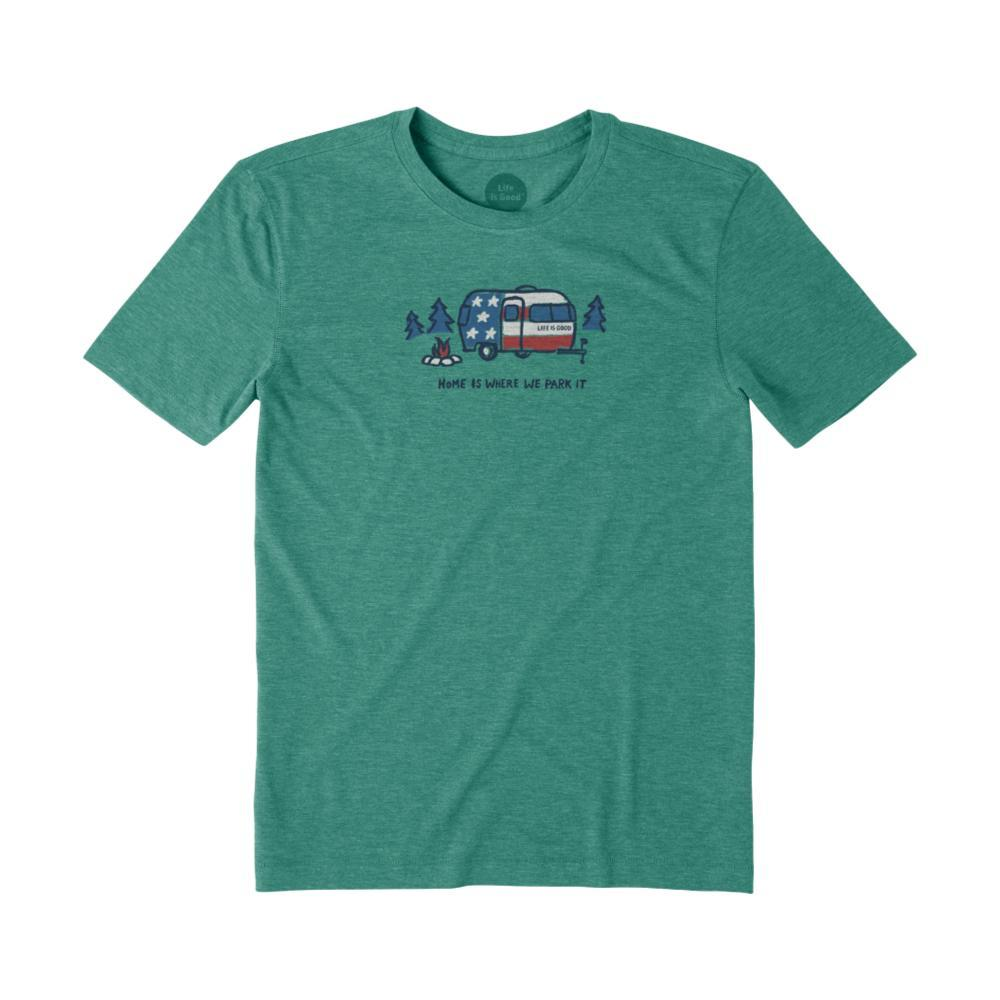 Life is Good Men's Home Is Where You Park It Smooth Tee FORESTGREEN