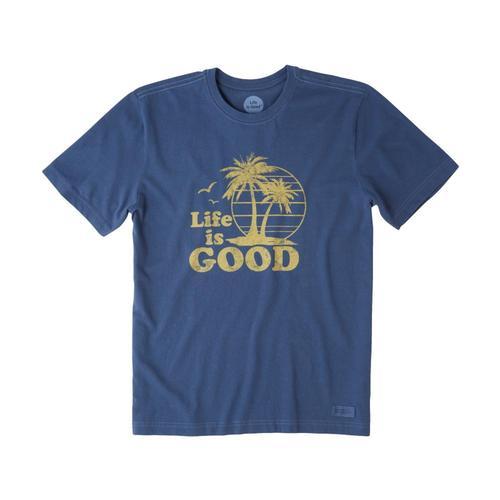 Life is Good Men's Vintage Palms Crusher Tee Darkestblue