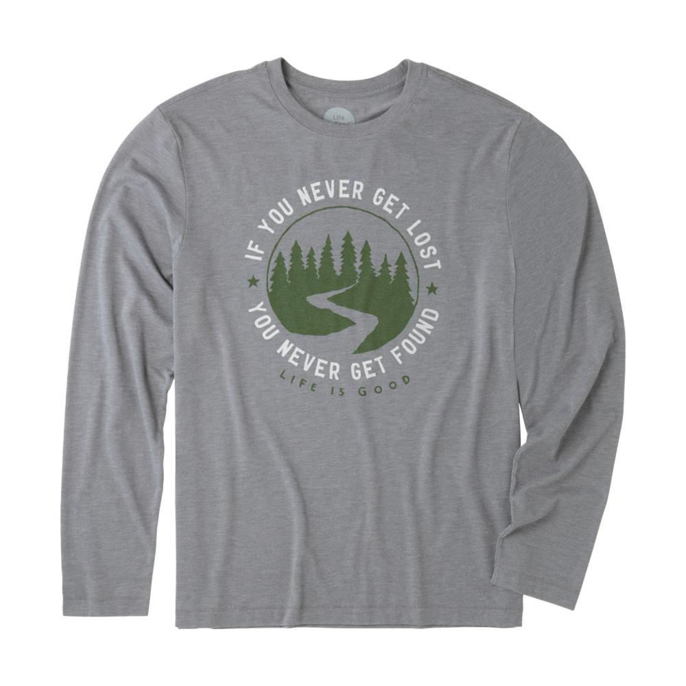 Life is Good Men's Get Lost Get Found Long Sleeve Cool Tee SLATEGRAY