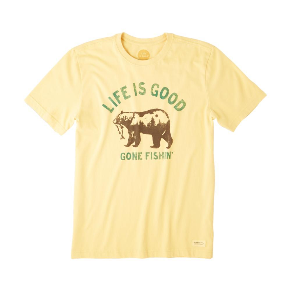 Life is Good Men's Gone Fishing Bear Crusher Tee BAJAYELLOW