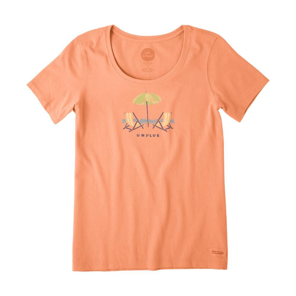 Life is Good Women's Unplug Beach Chill Crusher Scoop Neck Tee FRESHCORAL