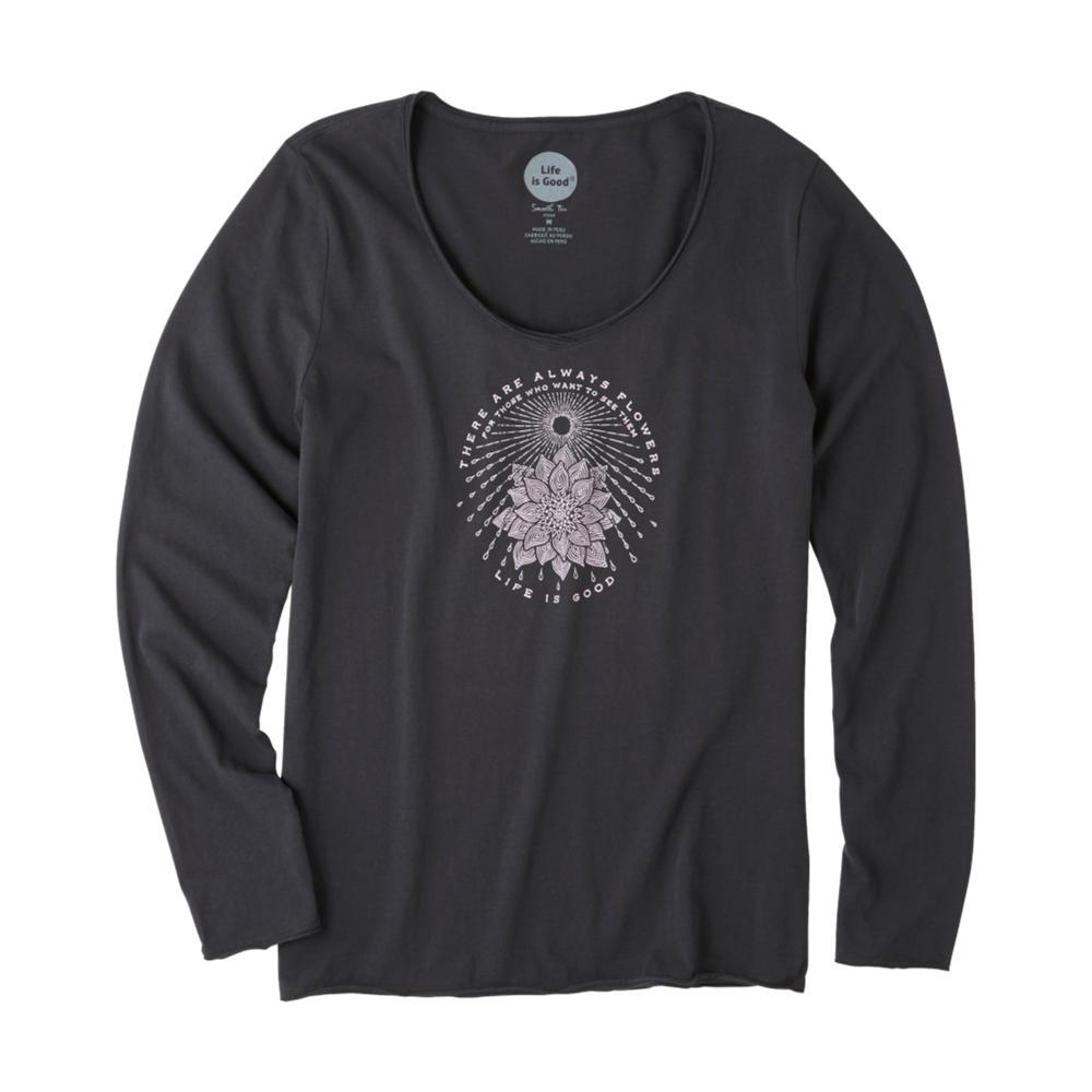 Life is Good Women's Illuminated Flower Long Sleeve Smooth Tee NIGHTBLACK