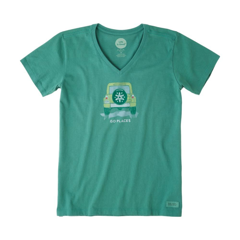 Life is Good Women's Go Places Snowflake Crusher Vee FORESTGREEN