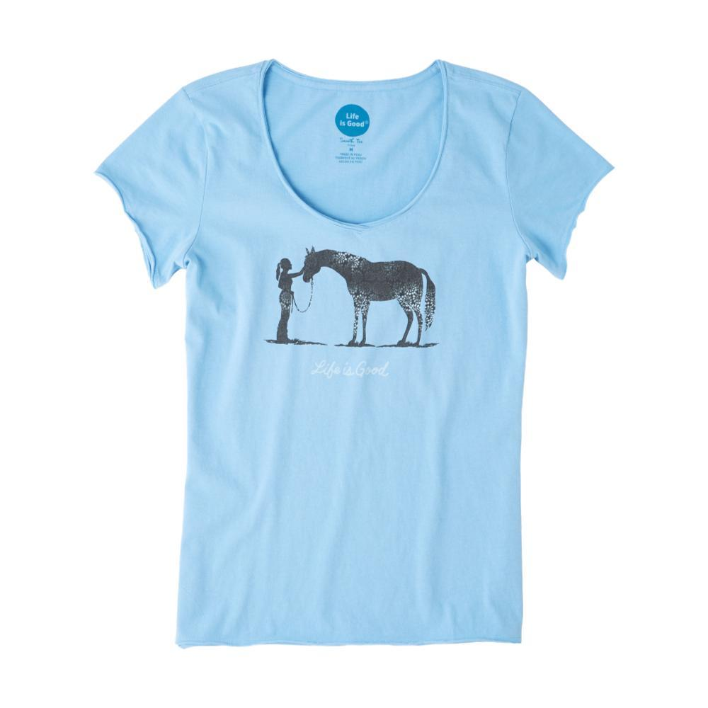 Life is Good Women's Besties Horse Smooth Tee POWDERBLUE