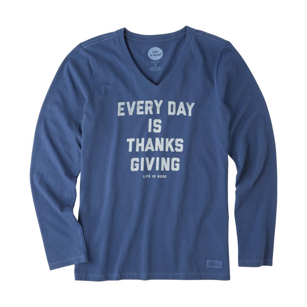 Life is Good Women's Everyday Is Thanksgiving Long Sleeve Crusher Vee DARKESTBLUE