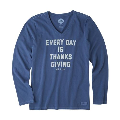 Life is Good Women's Everyday Is Thanksgiving Long Sleeve Crusher Vee Darkestblue