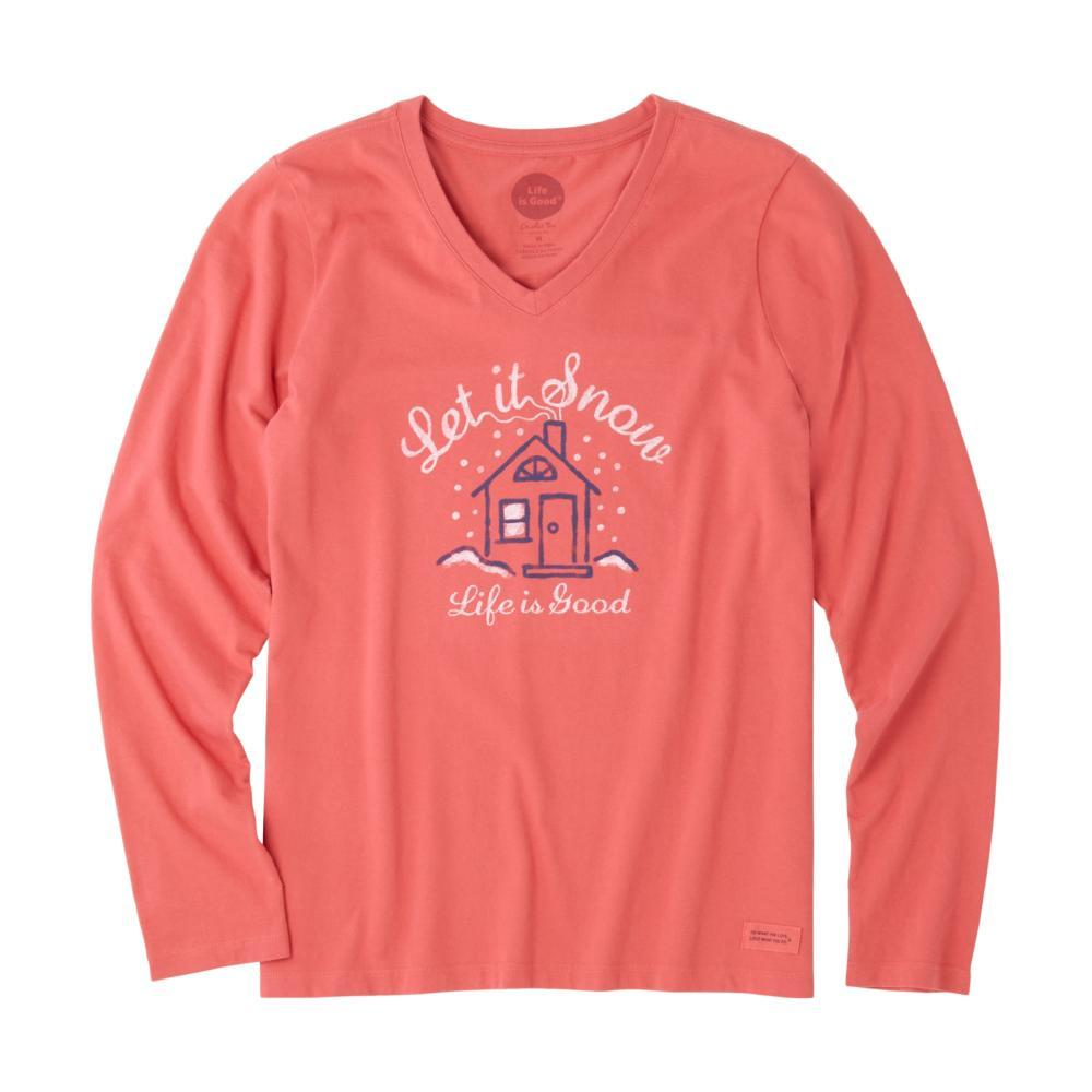 Life is Good Women's Let It Snow Home Long Sleeve Crusher Vee AMERICANRED