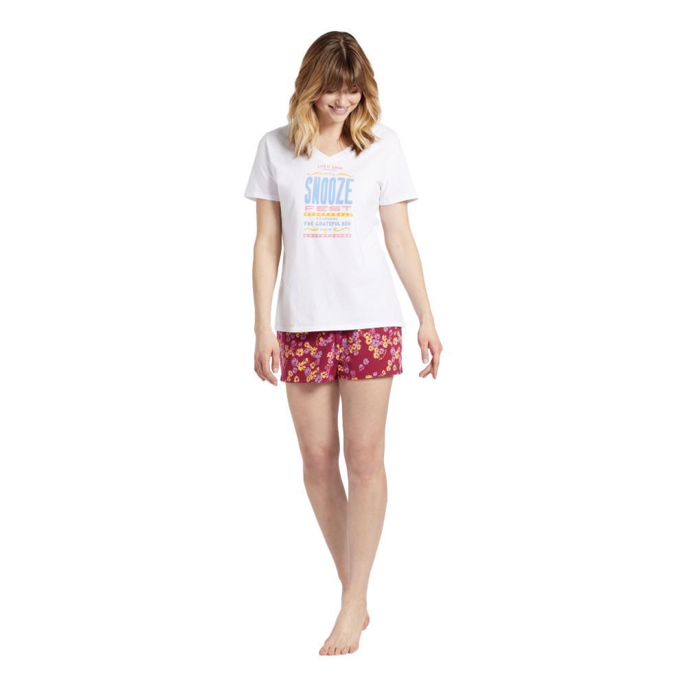Life is Good Women's Flower Toss Knit Sleep Shorts WILDCHERRY