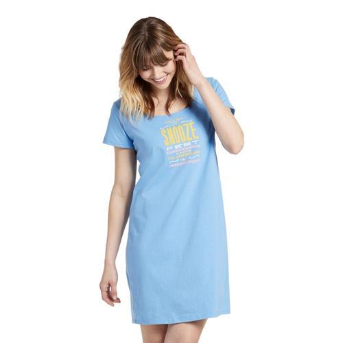 Life is Good Women's Sleepy Snooze Fest Sleep Tee Dress Powblue