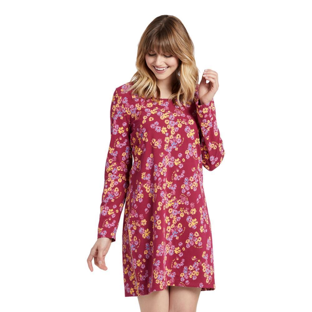 Life is Good Women's Sleepy Flower Toss Snuggle Up Long Sleeve Sleep Dress WILDCHERRY