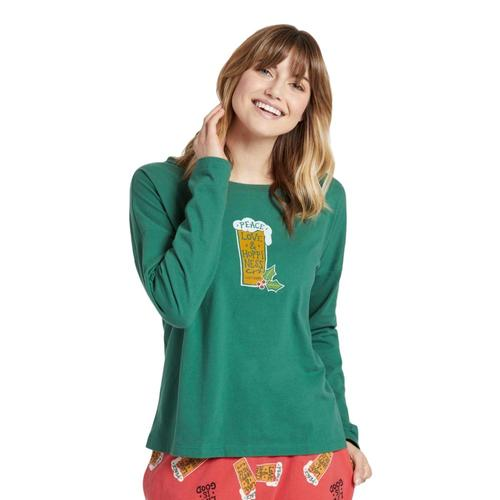 Life is Good Women's Peace, Love & Hoppiness Snuggle Up Long Sleeve Sleep Tee Forestgreen