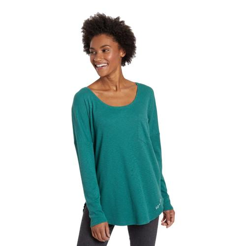 Life is Good Women's Mini Tree Carefree Long Sleeve Pocket Tee Forestgreen