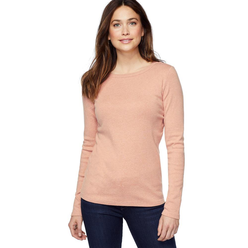 Pendleton Women's Long Sleeve Cotton Ribbed Crewneck Tee CAFECREME