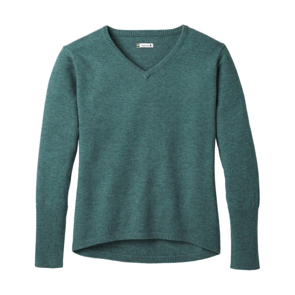 Smartwool Women's Shadow Pine V-Neck Sweater MEDITGREEN
