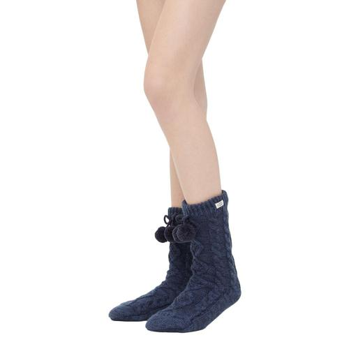 UGG Women's Pom Pom Fleece-Lined Crew Socks Navy