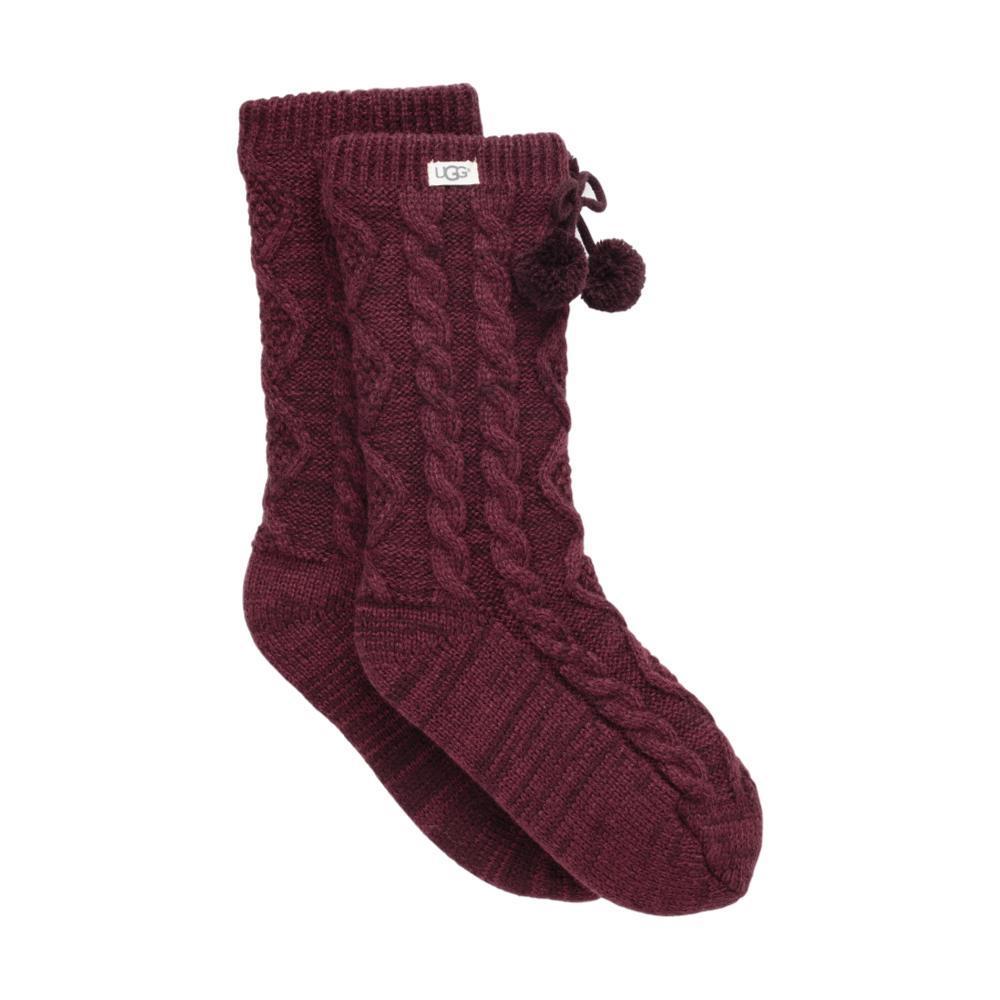 UGG Women's Pom Pom Fleece-Lined Crew Socks PORT