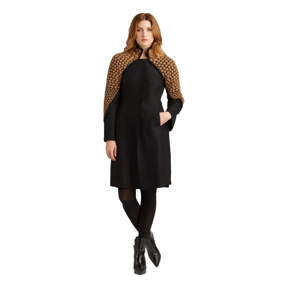 Indigenous Designs Women's Knit and Boiled Wool Coat BLACKCAMEL