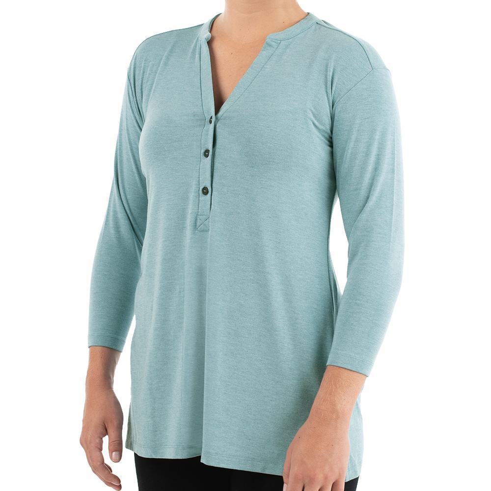 Free Fly Women's Bamboo Flex Henley Shirt ALPINEBLUE