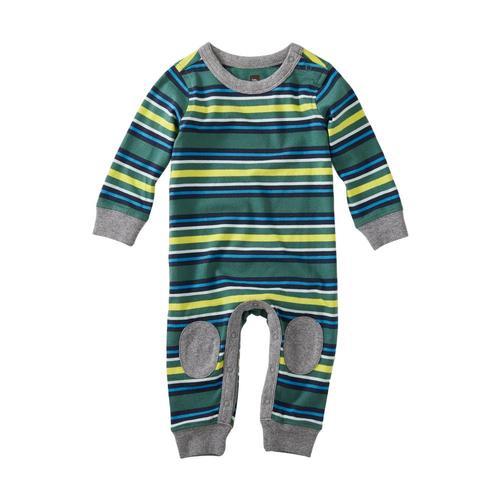 Tea Collection Infant Boys Striped Knee Patch Romper Vapor