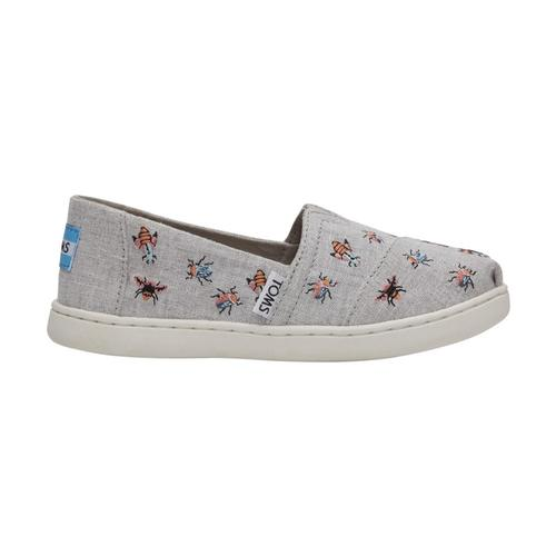 TOMS Youth Drizzle Grey Embroidered Bugs Classic Alpargatas