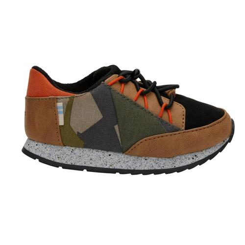TOMS Kids Burnt Olive Camo Tiny Bixby Sneakers Camo