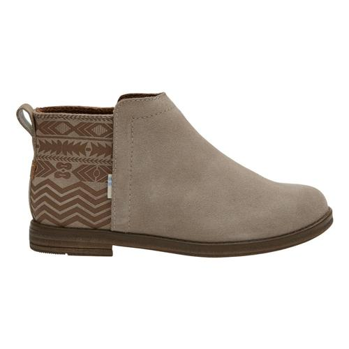 TOMS Youth Desert Taupe Suede Global Print Deia Booties