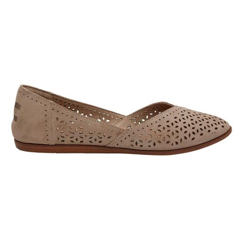 TOMS Women's Desert Taupe Perforated Suede Jutti Flats