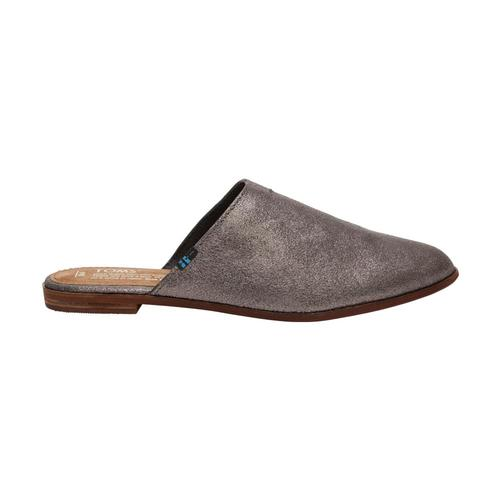 TOMS Women's Pewter Metallic Leather Jutti Mules Pewter