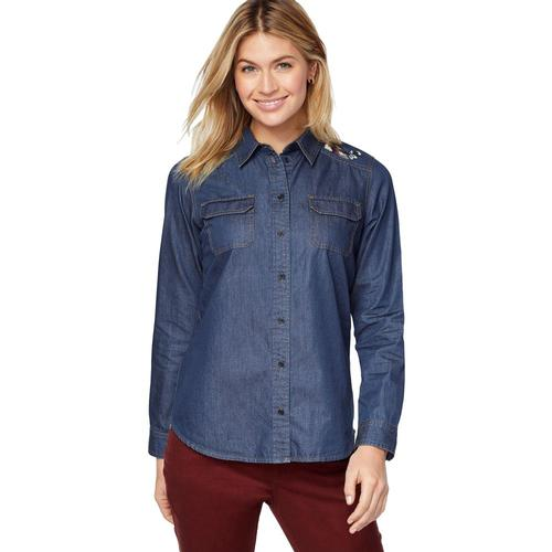 Pendleton Women's Embroidered Chambray Shirt Dkdenimmt